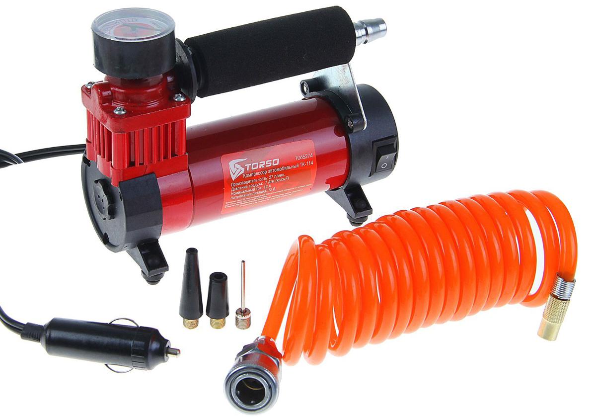 Компрессор автомобильный Torso TK-114, 12А, 27 л/мин1065274Автомобильный компрессор TORSO — это незаменимый помощник автомобилиста. Потребуется для накачивания колеса после прокола, выхода из строя ниппеля или подкачки запаски. Особенно прибор необходим в сезоны смены шин, во время поездок на далёкие расстояния. Специальные насадки позволят подкачать волейбольный мяч, шины велосипеда или резиновую лодку. Бюджетная модель, подойдёт для экономного водителя, который ценит соотношение хорошего качества и оптимальной стоимости.12 А, 27 л/мин, провод 3 м, шланг 2.5 м