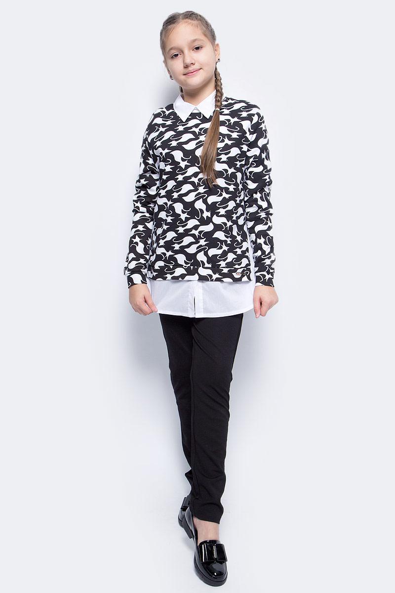 Джемпер для девочки M&D, цвет: черный. WJK27002S21. Размер 152WJK27002S21Стильный джемпер для девочки выполнен из эластичного хлопка и полиэстера. Модель с отложным воротником и длинными рукавами выполнен в виде имитации рубашки и кофты. Сзади застегивается на пуговицу.