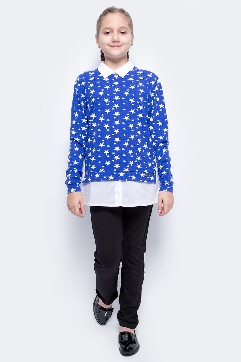 Джемпер для девочки M&D, цвет: темно-синий. WJK27003S29. Размер 164 мужская одежда aston случайные случайные сшитые мужские рубашки с длинными рукавами синяя сетка 170 m a14116303