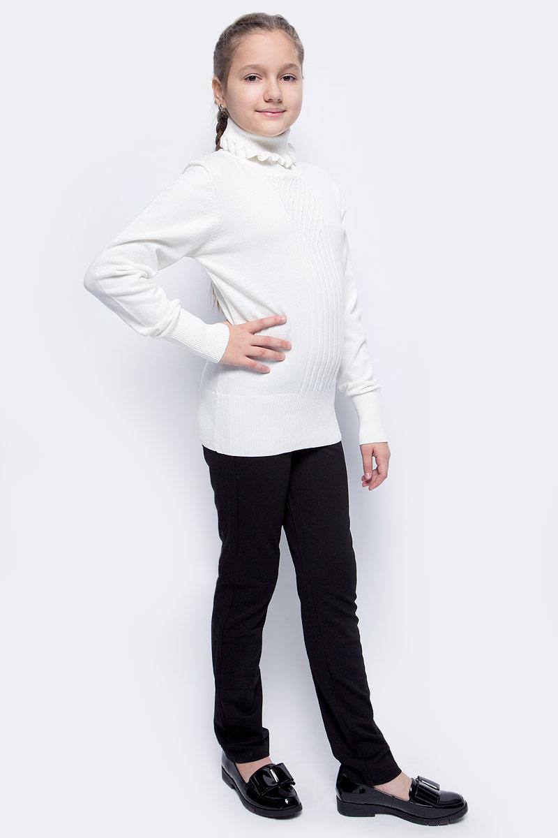 Водолазка для девочки Luminoso, цвет: молочный. 728009. Размер 164728009Водолазка с вязаной текстурой Luminoso выполнена из хлопка с добавлением нейлона. Модель имеет длинные рукава и воротник-стойку с рюшами. Манжеты рукавов, ворот и низ водолазки отделаны эластичной резинкой. Изделие на груди декорировано узором и бусинами-жемчужинами, низ водолазки украшен бантиком с подвеской.