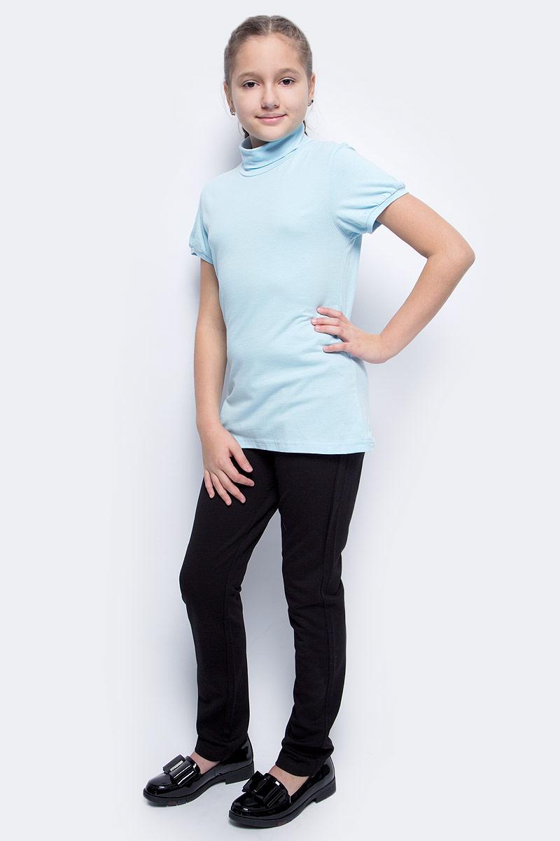Водолазка для девочки LeadGen, цвет: голубой. G970008001-172. Размер 152G970008001-172Водолазка для девочки LeadGen выполнена из эластичного хлопкового трикотажа. Модель с короткими рукавами и воротником-гольф.