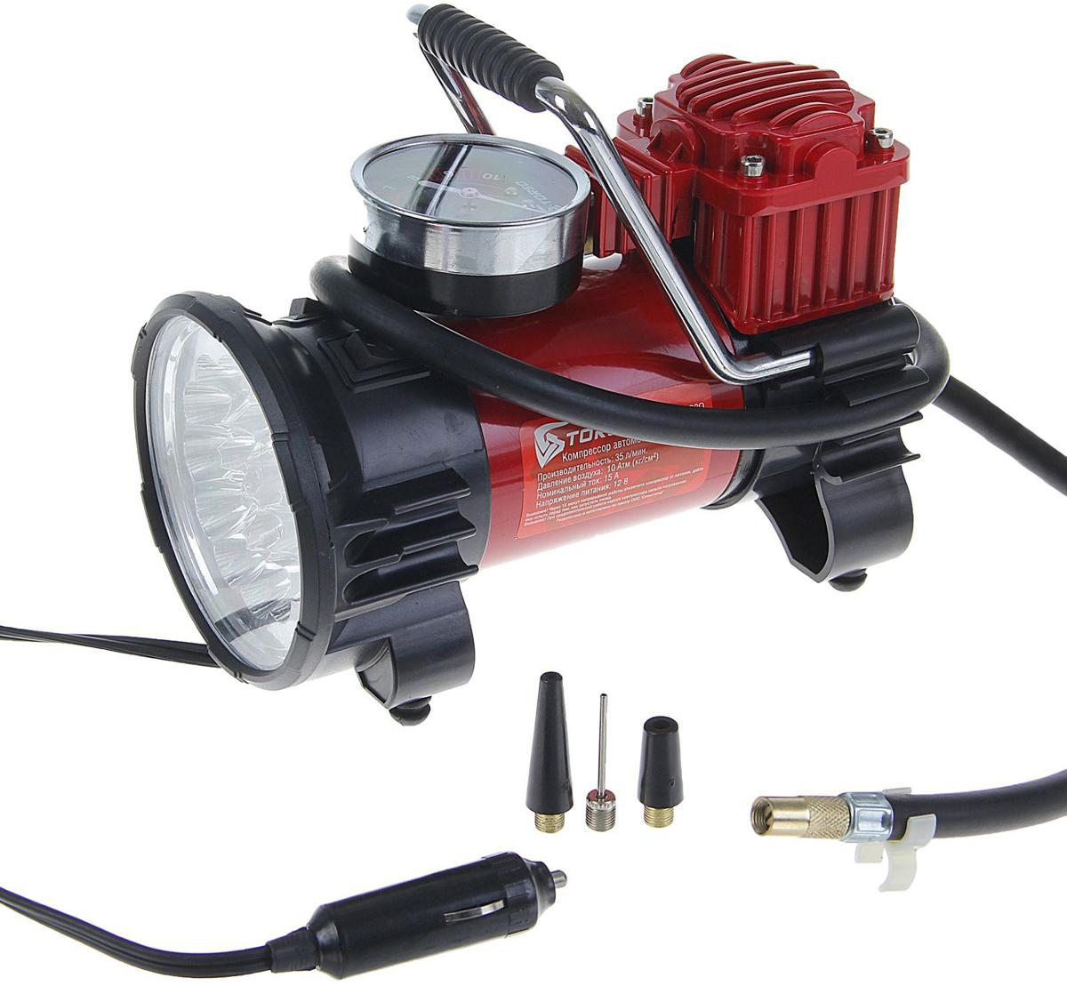 Компрессор автомобильный Torso TK-120, с белым фонарем LED, 15А, 35 л/мин1065280Автомобильный компрессор TORSO — это незаменимый помощник автомобилиста. Потребуется для накачивания колеса после прокола, выхода из строя ниппеля или подкачки запаски. Особенно прибор необходим в сезоны смены шин, во время поездок на далёкие расстояния. Специальные насадки позволят подкачать волейбольный мяч, шины велосипеда или резиновую лодку. Бюджетная модель, подойдёт для экономного водителя, который ценит соотношение хорошего качества и оптимальной стоимости. 15 А, 35 л/мин, провод 3м, белый фонарь LED, шланг 1м