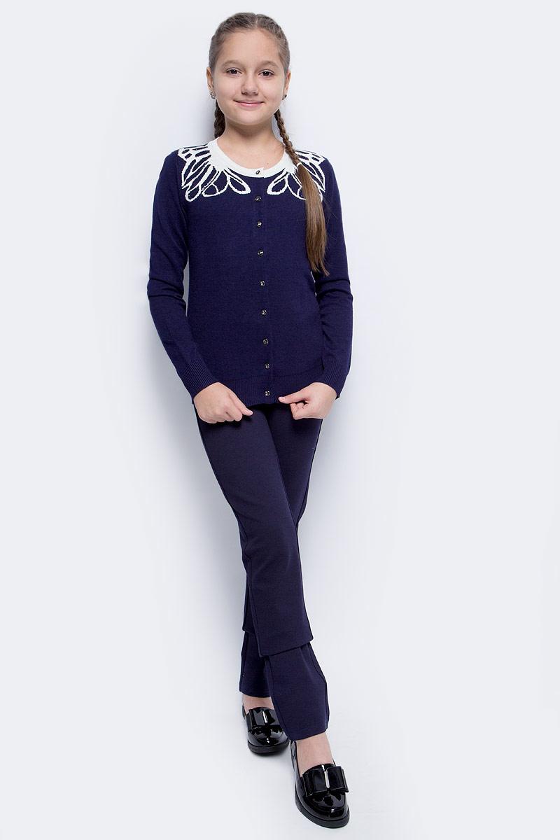 Кофта для девочки Vitacci, цвет: темно-синий. 2173244-04. Размер 1522173244-04Кофта для девочки выполнена из качественного материала. Модель с круглым вырезом горловины и длинными рукавами застегивается на пуговицы.