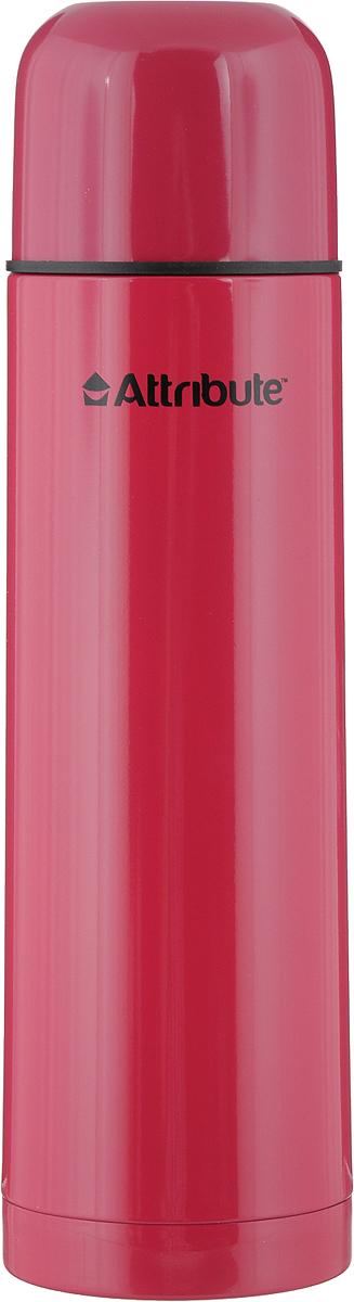 Термос Attribute Color, с узкой горловиной, цвет: малиновый, 750 мл502445Термос Attribute Color - это незаменимый аксессуар для тех людей, чья жизнь проходит в постоянном движении. Благодаря узкому горлу он подойдет для горячих и холодных напитков. Его корпус выполнен из нержавеющей стали с лаковым покрытием, обеспечивающим комфортное использование в морозную погоду. Кроме того, отличная вакуумная теплоизоляция данной модели способна сохранять температуру содержимого в горячем состоянии до 10 часов, а в холодном до 16. Наличие пробки со сливным клапаном позволяет наливать содержимое термоса, не откручивая ее. Объем составляет 750 мл.
