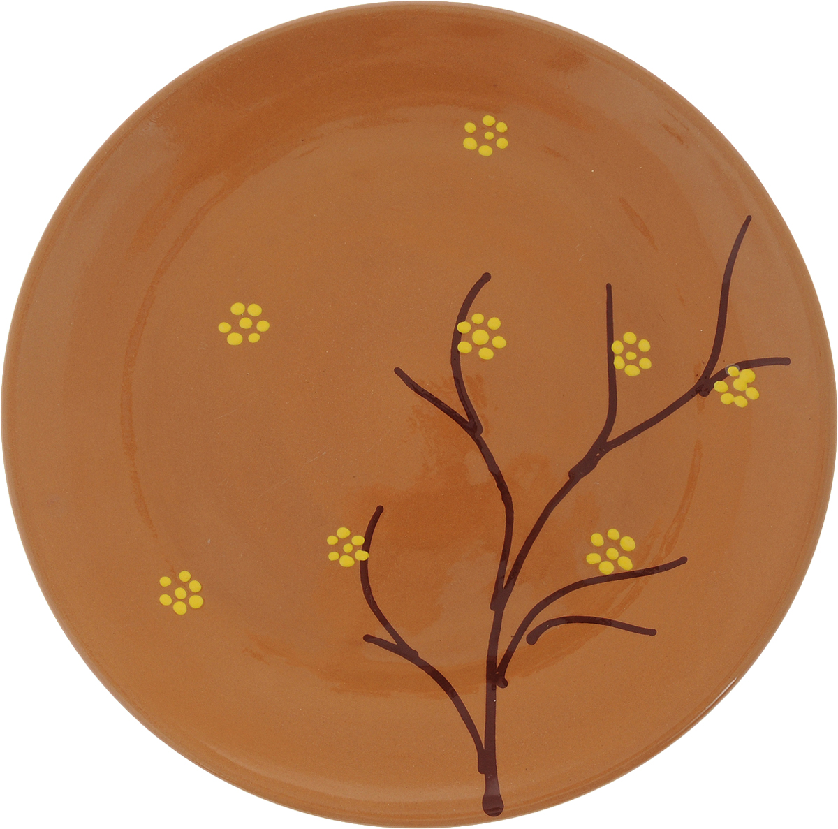 Тарелка Борисовская керамика Cтандарт, цвет: коричневый, желтый, диаметр 22,5 смОБЧ00000586_коричневый, желтые цветыТарелка Борисовская керамика Cтандарт выполнена из высококачественнойкерамики с покрытием пищевой глазурью. Изделие отлично подходит для подачи вторых блюд,сервировки нарезок, закусок, овощей и фруктов. Такая тарелка отлично подойдет дляповседневного использования. Она прекрасно впишется в интерьер вашей кухни.Посуда термостойкая, можно использовать в духовке и в микроволновой печи.Диаметр тарелки (по верхнему краю): 22,5 см.Высота стенки: 2,5 см.