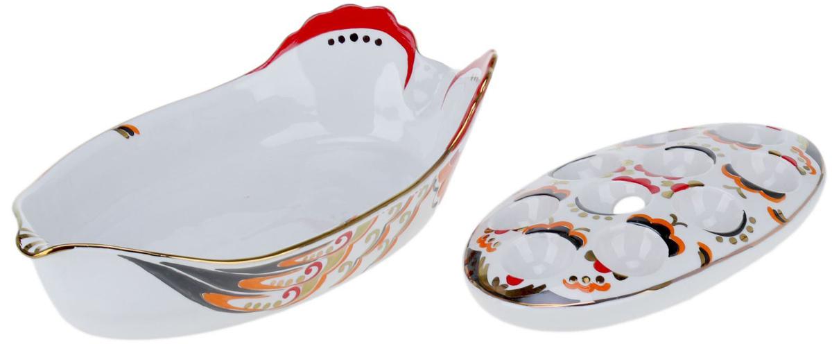 Лоток для яиц Фарфор Вербилок Курочка Ряба, двойной. 13303971330397От качества посуды зависит не только вкус еды, но и здоровье человека. Лоток для яиц - товар, соответствующий российским стандартам качества. Любой хозяйке будет приятно держать его в руках. С такой посудой и кухонной утварью приготовление еды и сервировка стола превратятся в настоящий праздник.