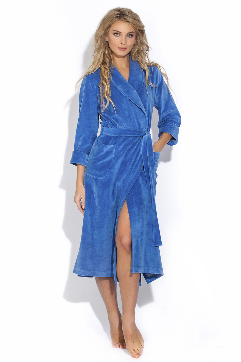 Халат женский Evateks, цвет: синий. 382. Размер XL (50/52) халат женский evateks цвет синий 525 размер 66 68