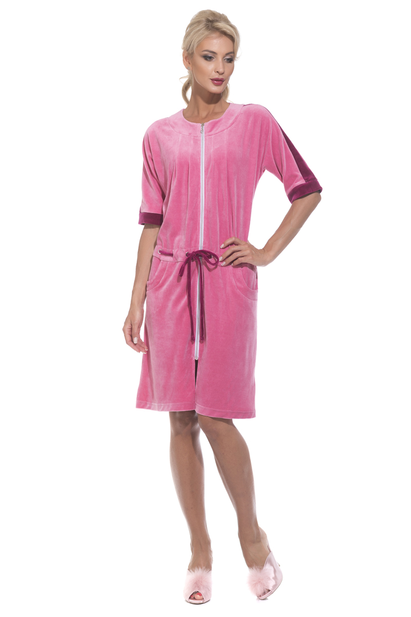 Фото Халат женский Peche Monnaie, цвет: розовый. 392. Размер XL (50)