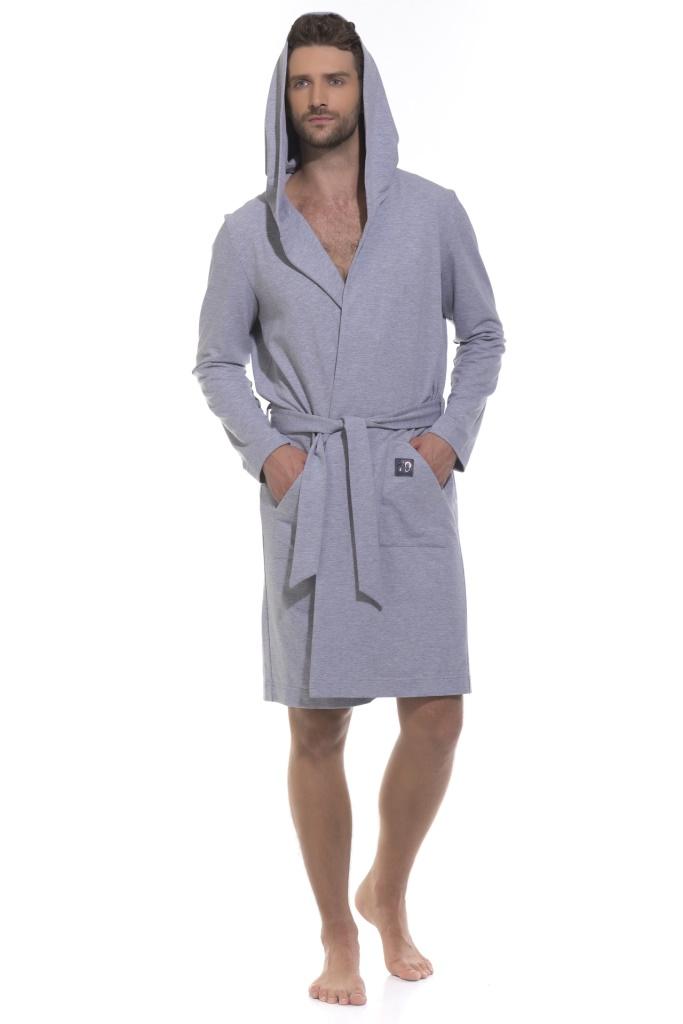 Халат мужской Peche Monnaie, цвет: серый. 410. Размер 2XL (52/54) платье домашнее peche monnaie цвет салатовый 219 размер xxl 52