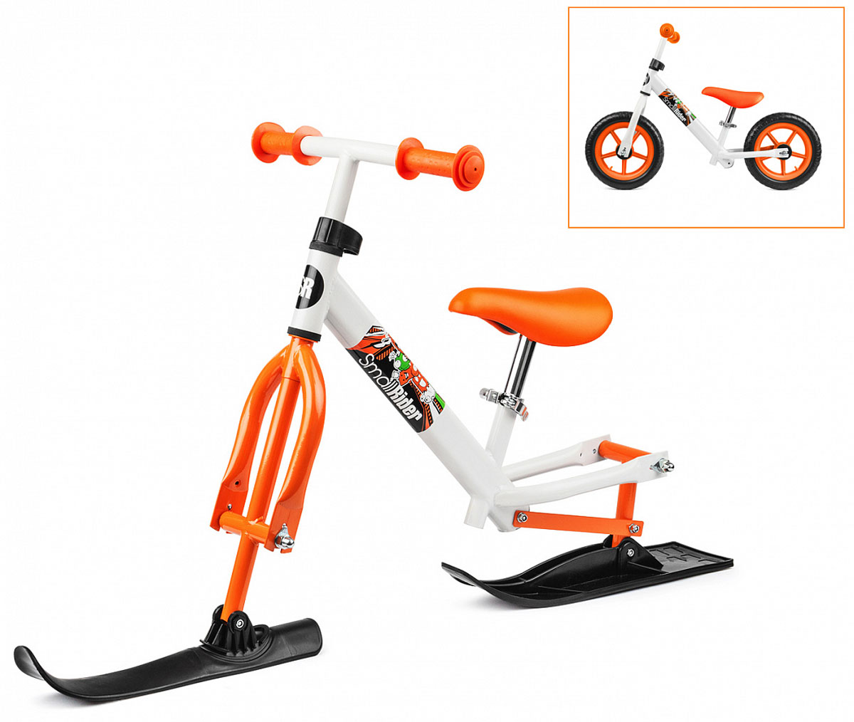 Small Rider Беговел Combo Racer 2 в 1 с лыжами и колесами цвет оранжевый - Беговелы