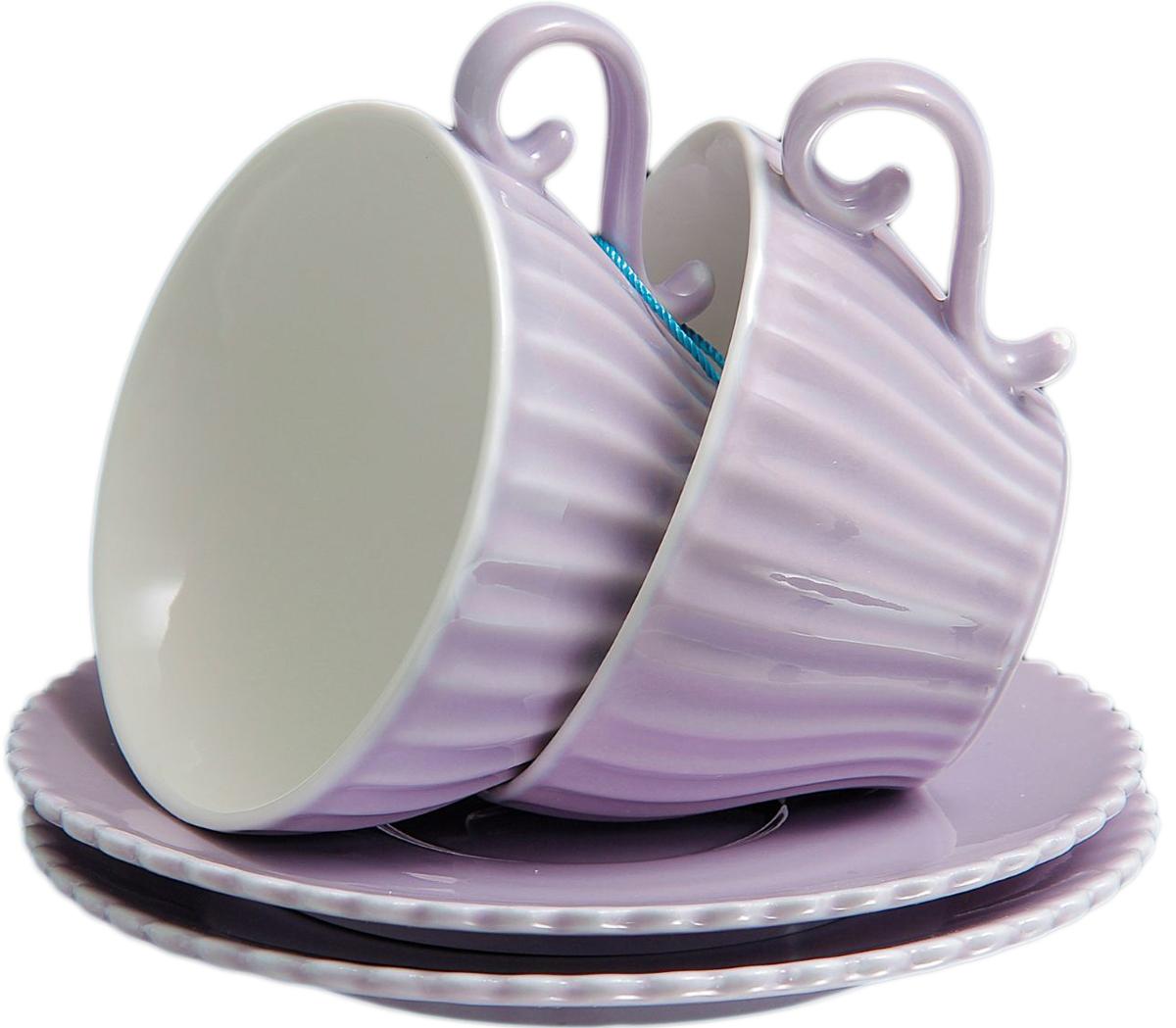 Набор чайный Lamart Confetteria, цвет: лиловый, 150 мл, 4 предмета869819Набор из 2 чайных пар Confetteria, лиловый, 150 мл — именно то, что раскрасит серые будни яркими красками. Создайте для себя и своих близких атмосферу праздника. Данный товар соответствует российским стандартам качества, вам не придётся краснеть за такой подарок. Это уникальный товар по выгодной цене, который вы можете купить оптом у нас уже сегодня.