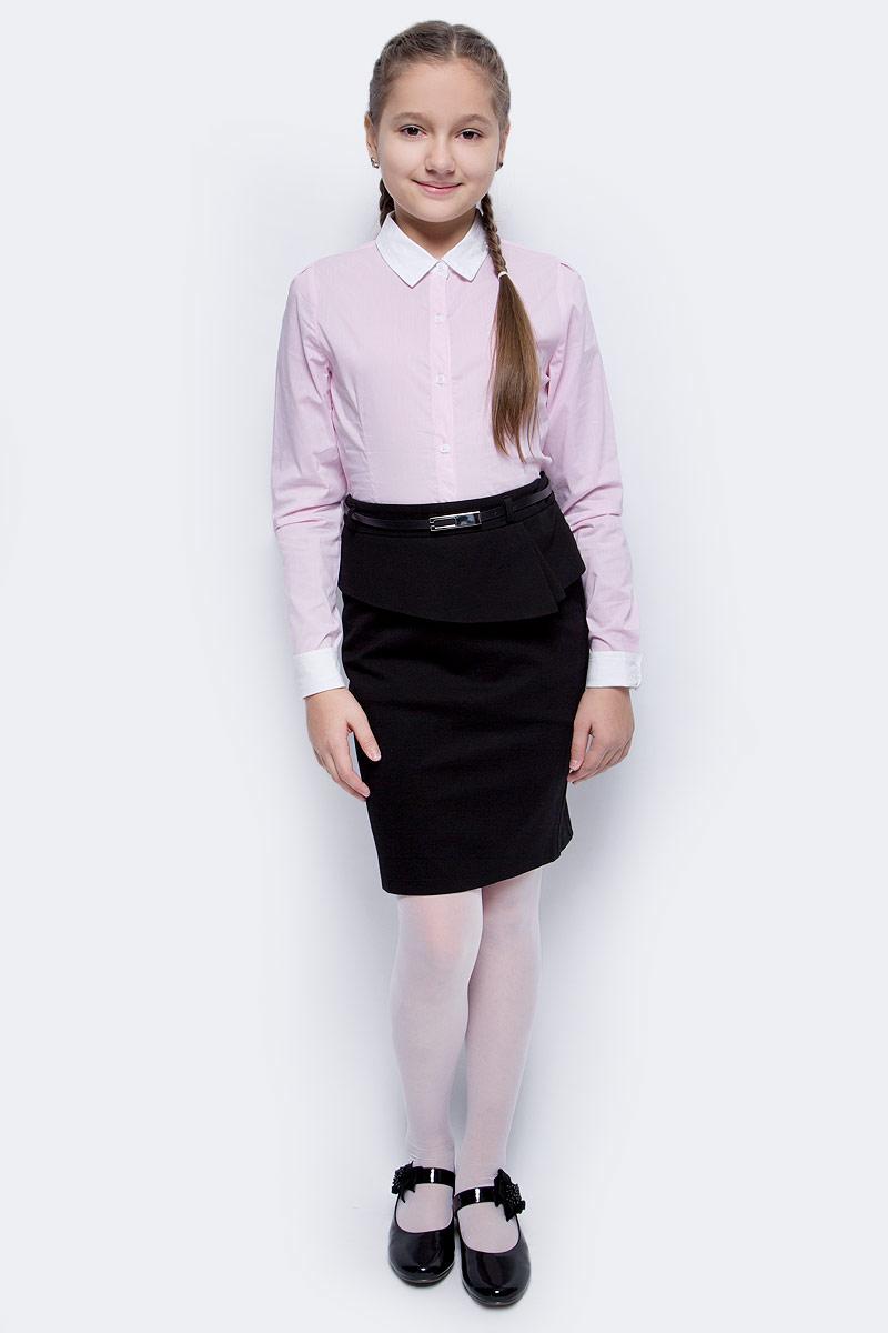 Блузка для девочки Vitacci, цвет: розовый. 2173025L-11. Размер 1642173025L-11Классическая школьная блузка для девочки выполнена из качественного материала. Модель с отложным воротником и длинными рукавами застегивается на пуговицы.