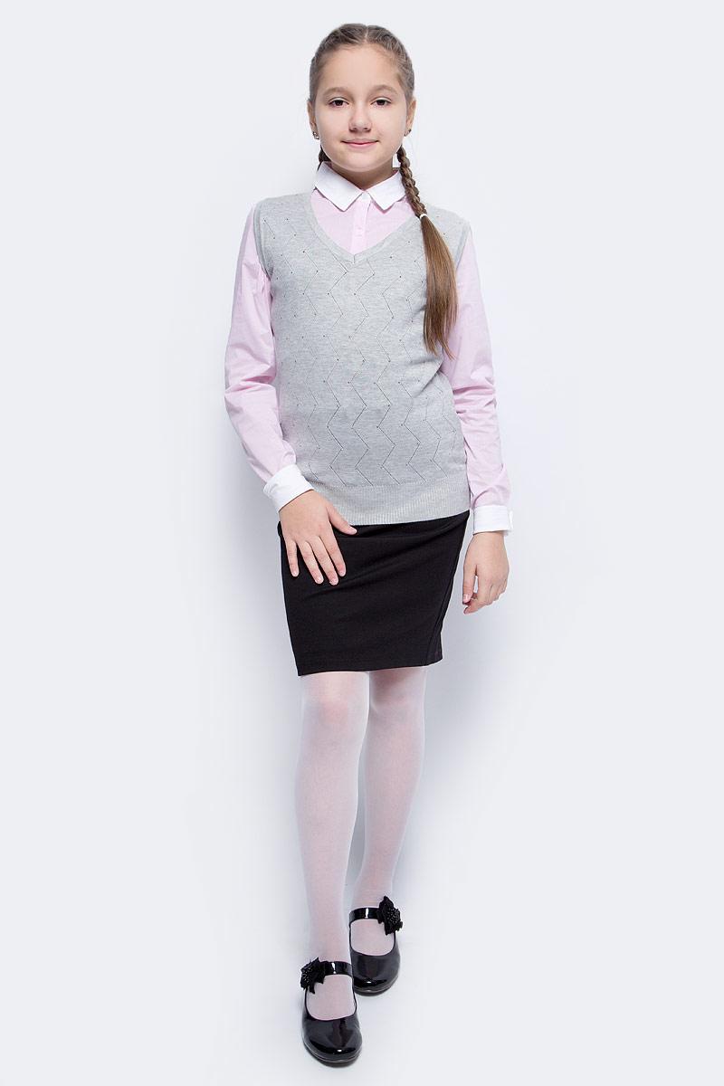 Жилет для девочки Vitacci, цвет: серый. 2173006-02. Размер 1342173006-02Жилет школьный трикотажный для девочки выполнен из качественного материала. Модель оформлена оригинальной вязкой.
