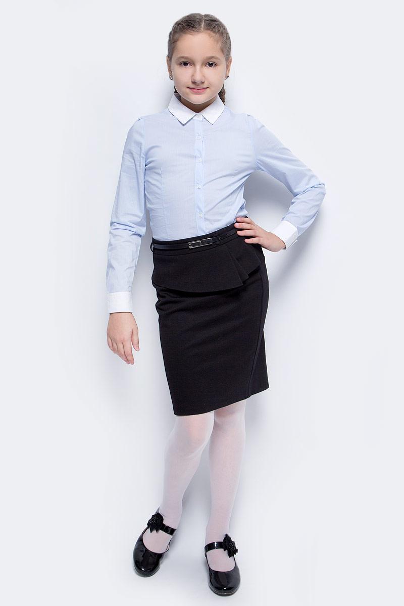 Блузка для девочки Vitacci, цвет: голубой. 2173025L-10. Размер 1342173025L-10Классическая школьная блузка для девочки выполнена из качественного материала. Модель с отложным воротником и длинными рукавами застегивается на пуговицы.
