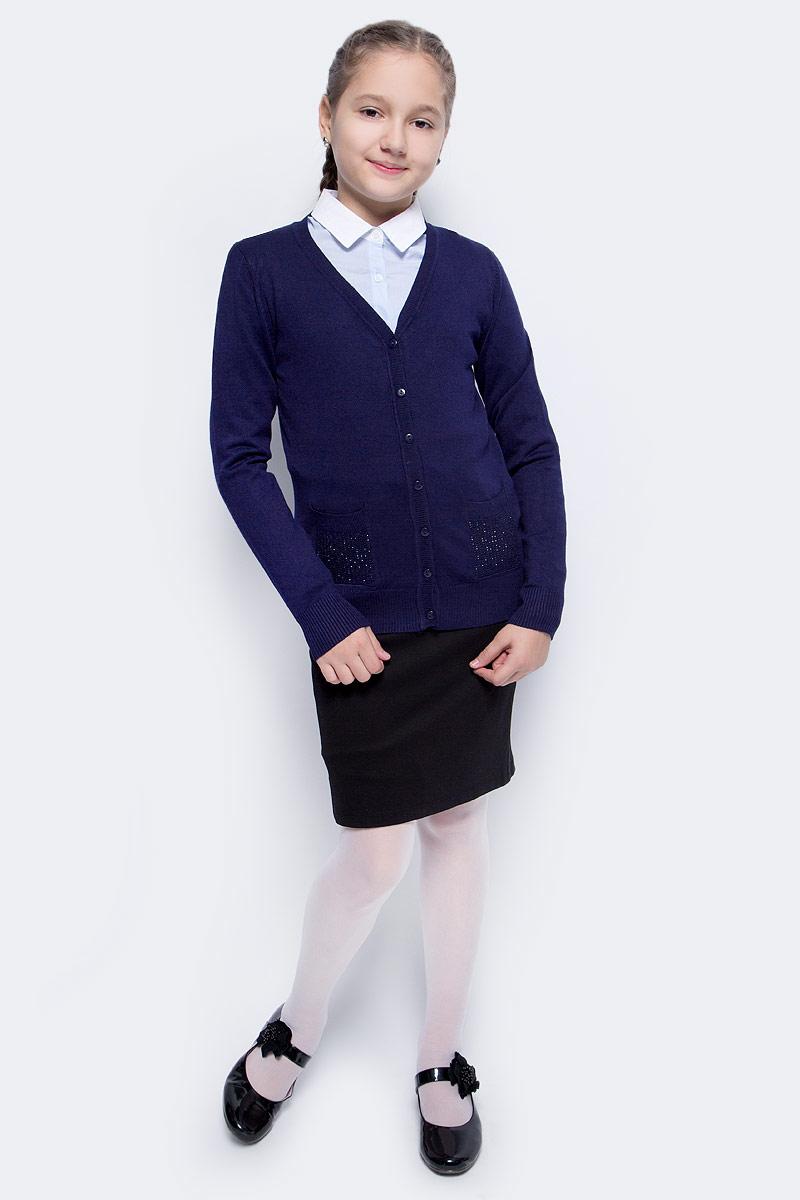 Кофта для девочки Vitacci, цвет: темно-синий. 2173001-04. Размер 1342173001-04Кофта для девочки выполнена из качественного материала. Модель с длинными рукавами застегивается на пуговицы.