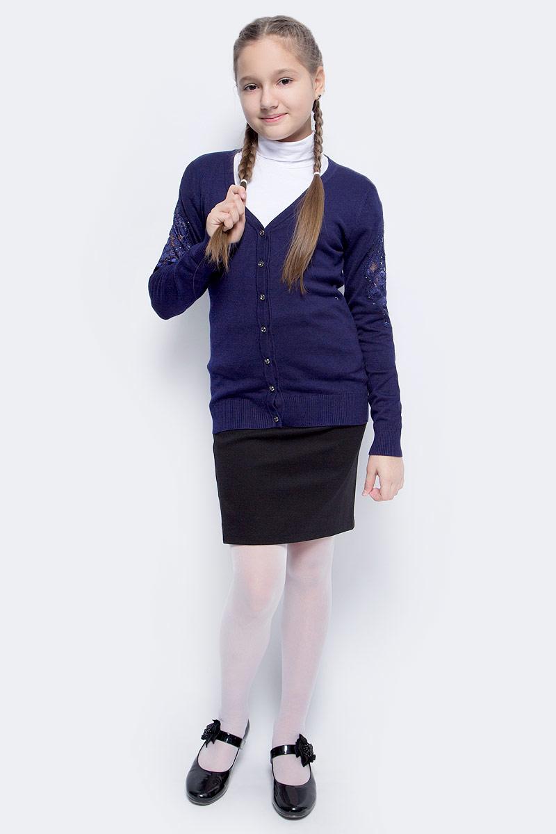 Кофта для девочки Vitacci, цвет: темно-синий. 2173248-04. Размер 1582173248-04Кофта для девочки выполнена из качественного материала. Модель с V-образным вырезом горловины и длинными рукавами застегивается на пуговицы.