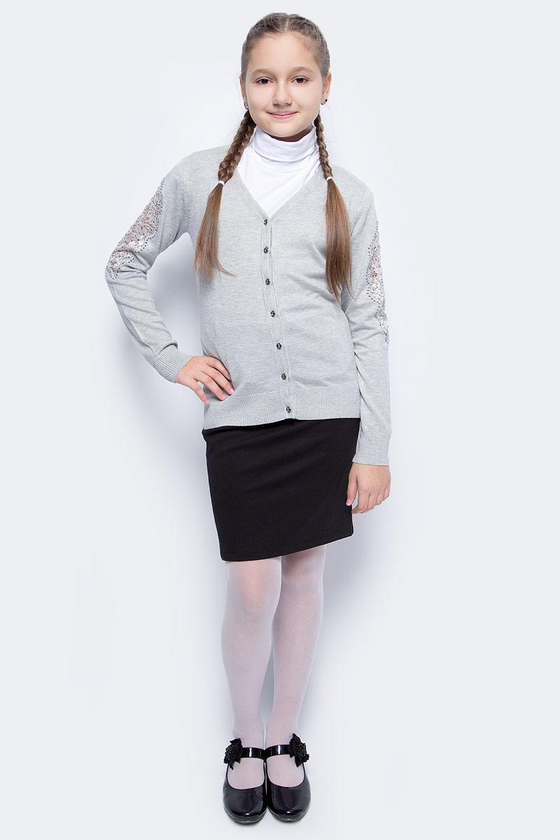 Кофта для девочки Vitacci, цвет: серый. 2173248-02. Размер 1402173248-02Кофта для девочки выполнена из качественного материала. Модель с V-образным вырезом горловины и длинными рукавами застегивается на пуговицы.