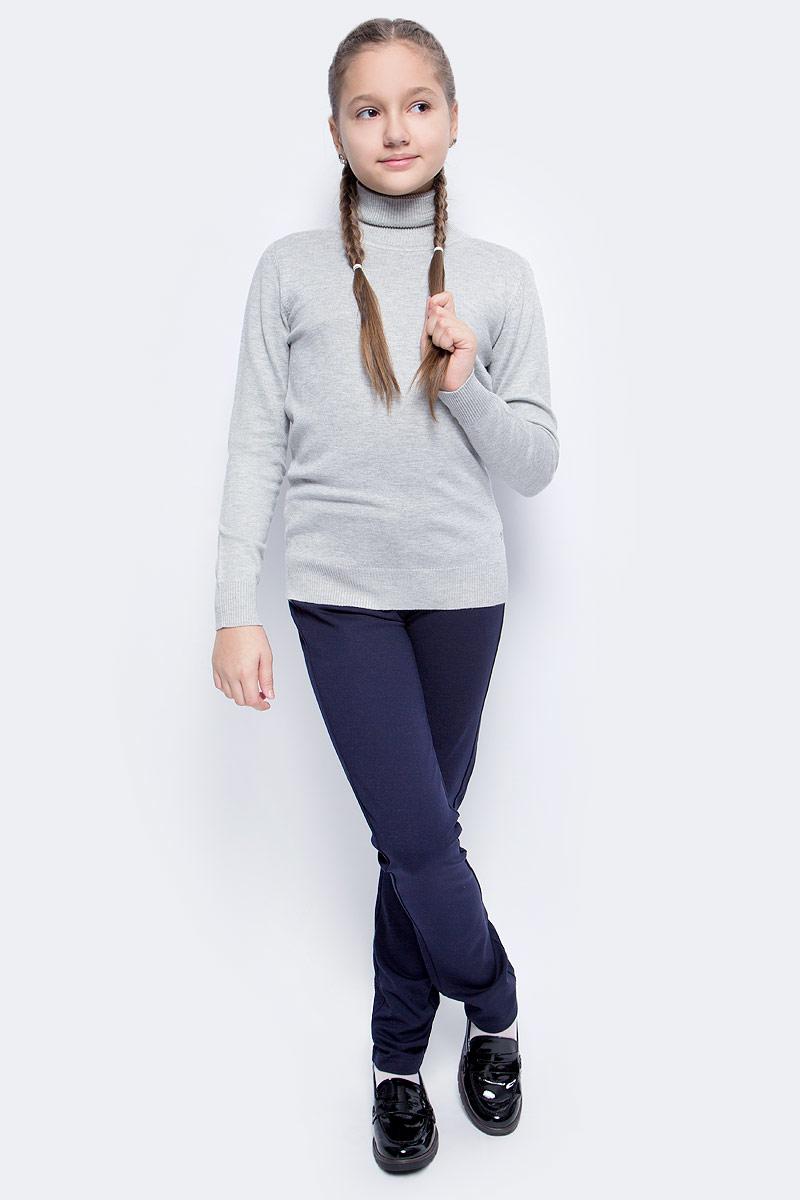 Свитер для девочки Vitacci, цвет: серый. 2173008-02. Размер 1342173008-02Свитер для девочки выполнен из качественного материала. Модель с воротником гольф и длинными рукавами.