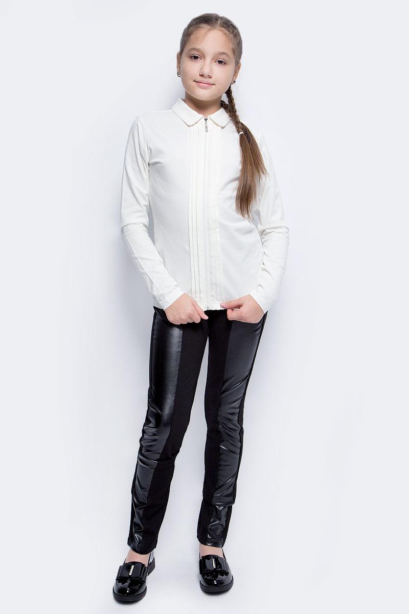 Кофта для девочки Vitacci, цвет: слоновая кость. 2173084L-25. Размер 1582173084L-25Школьная кофта для девочки от Vitacci выполнена из эластичного хлопка. Модель с длинными рукавами и отложным воротником застегивается на молнию.