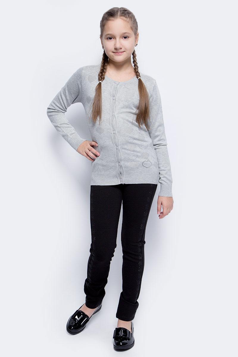 Кофта для девочки Vitacci, цвет: серый. 2173002-02. Размер 1462173002-02Кофта для девочки выполнена из качественного материала. Модель с круглым вырезом горловины и длинными рукавами застегивается на пуговицы.