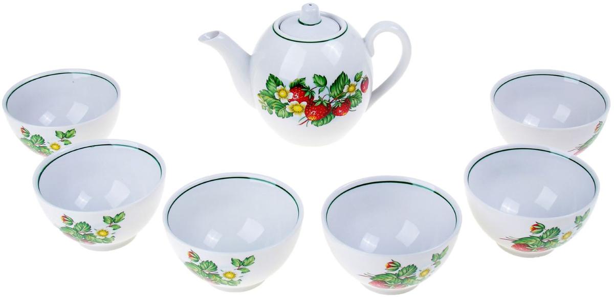 Набор чайный Фарфор Вербилок Цветущая земляника, 7 предметов. 1016847 салатник фарфор вербилок цветущая земляника 360 мл