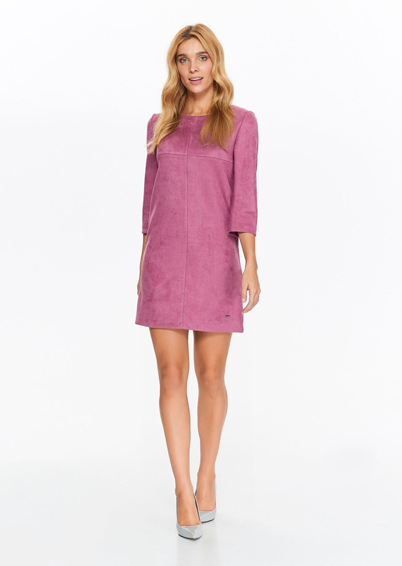 Платье женское Top Secret, цвет: розовый. SSU1981RO. Размер 34 (42)SSU1981ROМодное платье Top Secret выполнено из высококачественного материала. Модель свободного кроя с круглым вырезом горловины. На спинке изделие застегивается на застежку-молнию.