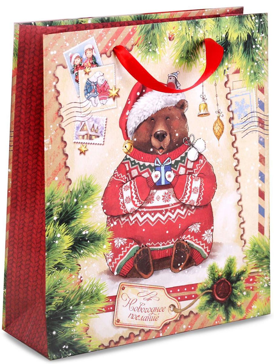 Пакет подарочный Дарите Счастье Новогоднее послание, вертикальный, 23 х 27 х 8 см2103Привлекательная упаковка послужит достойным украшением любого, даже самого скромного подарка. Она поможет создать интригу и продлить время предвкушения чуда - момента, когда презент окажется в руках адресата.Пакет имеет яркий, оригинальный дизайн, который обязательно понравится. Изделие выполнено из плотной крафтовой бумаги, благодаря чему обеспечит надёжную защиту содержимого.
