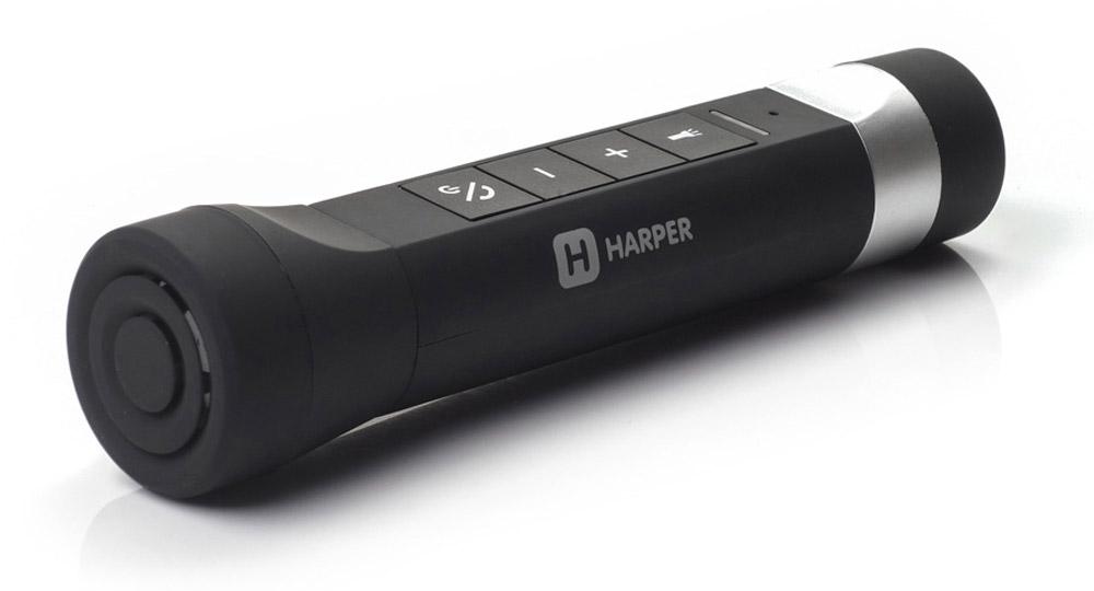 Harper PB-4003, Black внешний аккумулятор (3000 мАч)00-00001318Мультифункциональный пауербанк PB-4003 может использоваться для освещения дороги при езде на велосипеде, для этого в комплекте поставляется специальное крепление для руля. Возможно использование в качестве обычного ручного фонаря (без крепления).При желании светодиодный фонарь может быть отсоединен от корпуса, и тогда устройство будет выступать в качестве резервного источника тока (Powerbank) с объемом аккумулятора 3000 мАч.Вместе с тем PB-4003 может выступать в качестве беспроводных колонок мощностью 3Вт, сопрягаемых с большинством цифровых гаджетов по протоколу Bluetooth стандарта 3.0. Или в качестве Bluetooth-гарнитуры (на корпусе имеется специальный микрофон). Диапазон воспроизводимых наушниками частот - от 90 Гц до 20 кГц. Работает PB-4003 и как портативный плеер. Музыкальные файлы считываются с карты формата MicroSD, вставляемой в специальный слот под светодиодным фонарем.Поддерживаются форматы MP3 и WAV.Еще одна функция устройства - встроенное FM-радио. Внешняя антенна не требуется.Вес устройства при таком богатом функционале составляет всего 110 грамм, а органы управления компактно размещены на одной панели, которая позволяет эффективно использовать его в любом из его режимов.