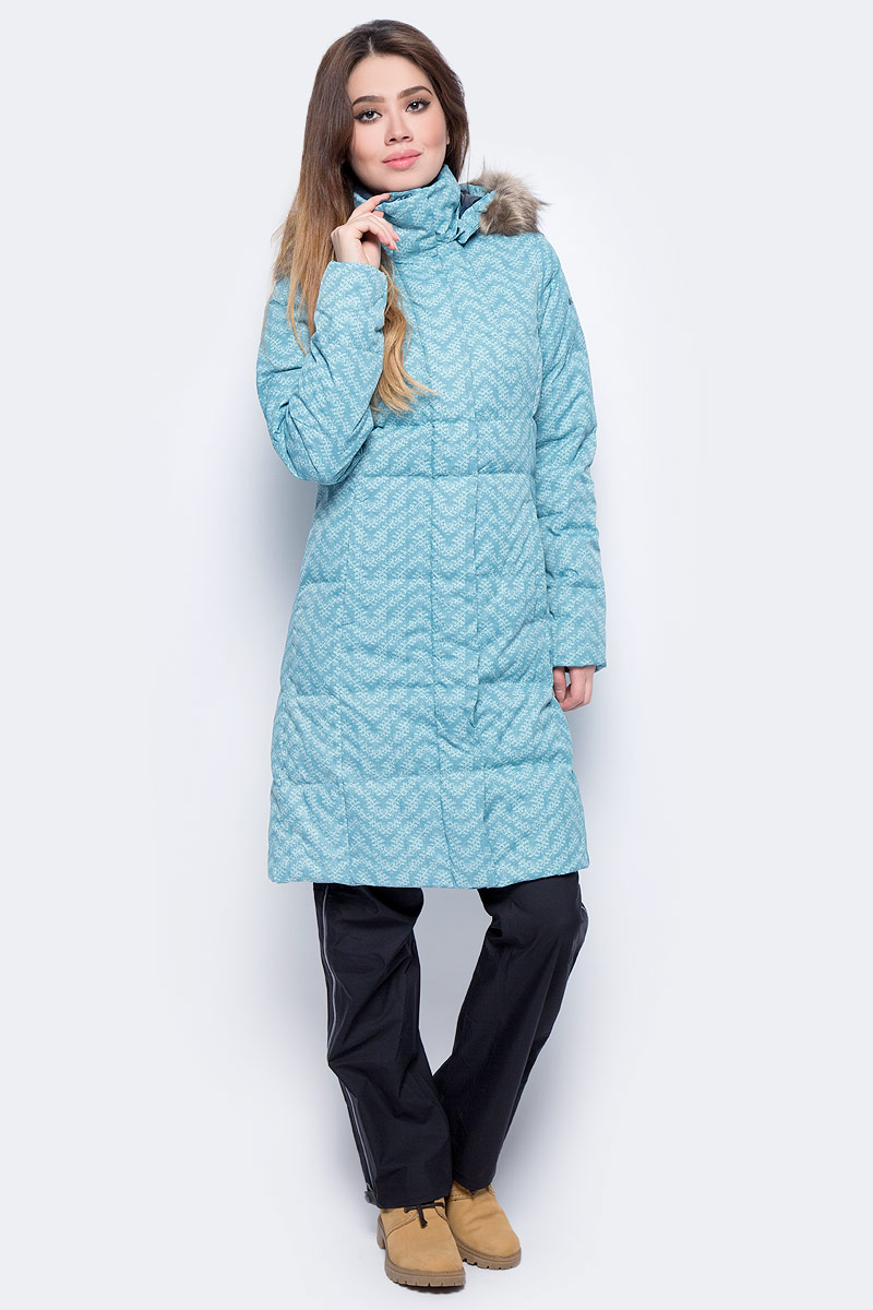 Пуховик женский Columbia Varaluck Long Hdd Down Jacket W, цвет: бирюзовый. 1742961-336. Размер XS (42) съемный hdd