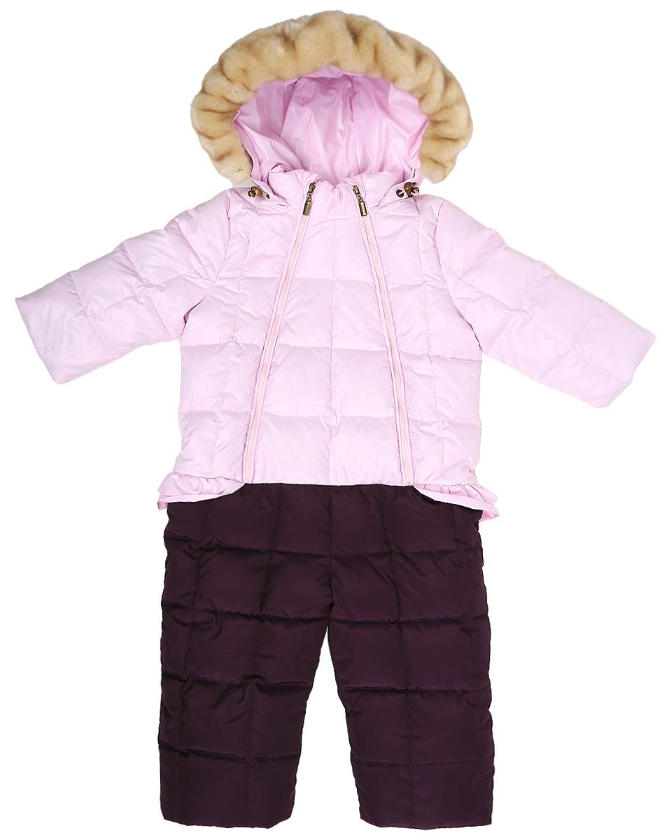 Комбинезон утепленный для девочки Ёмаё, цвет: розовый, фиолетовый. 69-112. Размер 9269-112Комбинезон для девочки из полиэстера с комбинированной подкладкой, утеплен пухом и пером. Модель застегивается на молнию с ветрозащитной планкой, имеет несъемный капюшон с отстегивающейся опушкой из искусственного меха. Рукава дополнены внутренними трикотажными манжетами.Низ брючин оснащен внутренней манжетой с настроченной эластичной тесьмой, с латексной антискользящей нитью, которая фиксирует брючины на сапогах и предохраняет от попадания снега.