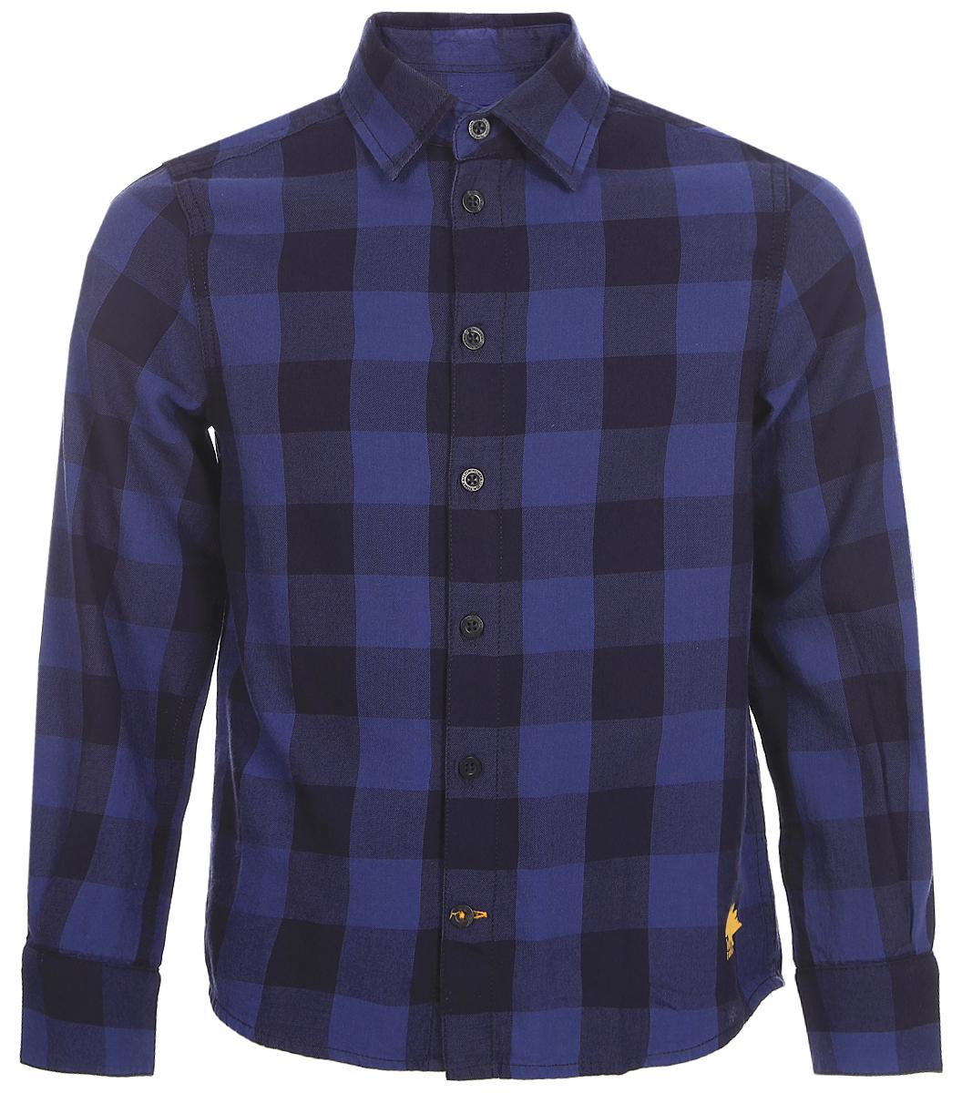 Рубашка для мальчика Tom Tailor, цвет: синий. 2033662.00.82_6800. Размер 116/1222033662.00.82_6800Рубашка для мальчика от Tom Tailor выполнена из натурального хлопка. Модель с длинными рукавами и отложным воротником застегивается на пуговицы.