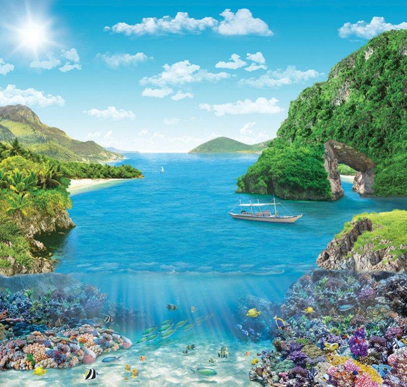 Фотообои Твоя планета Коралловый риф, 204 х 194 см, 6 листов4607161058077Фотообои - это полотна бумаги, на которые фотографическим способом нанесены фрагменты больших картин, чаще всего, с изображением ландшафтов и пейзажей. Сюжет может состоять как из двух кусков, которые обычно клеятся на дверь, так и из четырех и более. Такой вариант предназначен для оформления целой стены или даже потолка. Фотообои имеют определенные размеры, от которых зависит их назначение. Так, существуют фотообои, которые предназначены для оклейки стен в помещении, как полностью, то есть от пола до потолка, так и частично, например, до середины стены. Ну, а для оформления дверей предназначены специальные узкие фотообои.