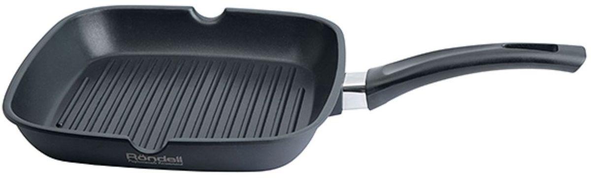 Сковорода-гриль Rondell, с антипригарным покрытием, цвет: черный, 28 х 28 смRDA-873Сковорода гриль 28 х 28 см Rondell 873-RDA, материал литой алюминий, внутреннее покрытие Xylan Plus – двухслойное, долговечное антипригарное покрытие для интенсивного использования, внешнее покрытие и отделка-матовый, силиконовый полиэстер устойчивый к высоким температурам, толщина дна 4,0 мм, прочная бакелитовая ручка анатомической формы, тип крепления аксессуаров винтовое. Подходит для всех видов плит, включая индукционные, подходит для посудомоечной машины.
