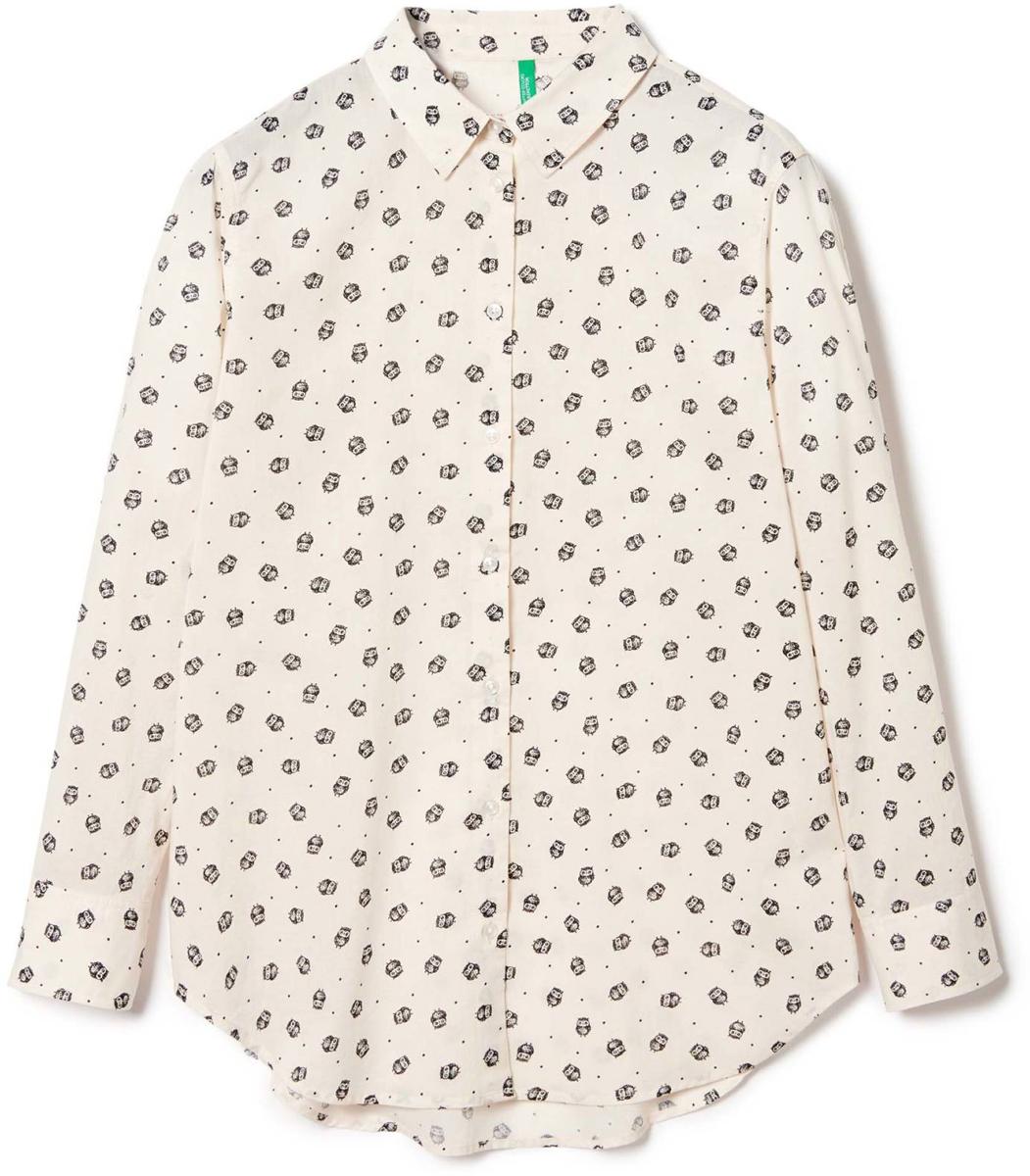 Рубашка жен United Colors of Benetton, цвет: белый, совы. 5DFX5Q715_911. Размер S (42/44) отпариватели philips ручной отпариватель для одежды philips gc330 40