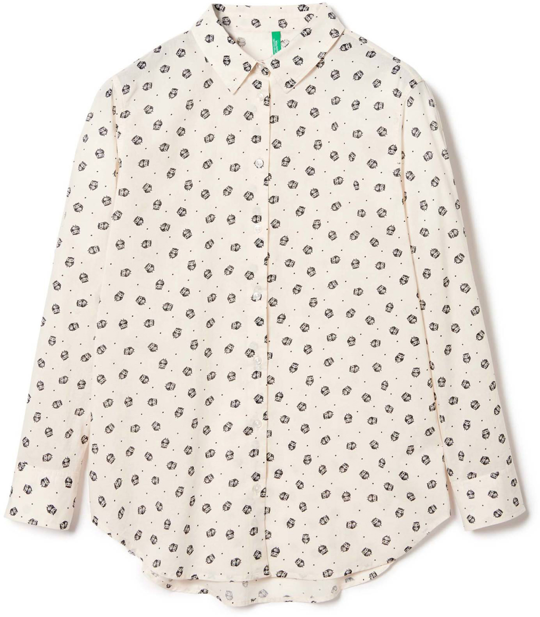 Рубашка жен United Colors of Benetton, цвет: белый, совы. 5DFX5Q715_911. Размер S (42/44)5DFX5Q715_911