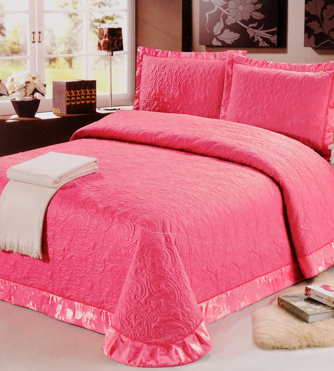 Комплект для спальни Cleo Сатин: покрывало 240 х 260 см, 2 наволочки 50 х 70 см, цвет: фуксия комплект для спальни cleo мишлей покрывало 230 х 250 см 2 наволочки 50 х 70 см