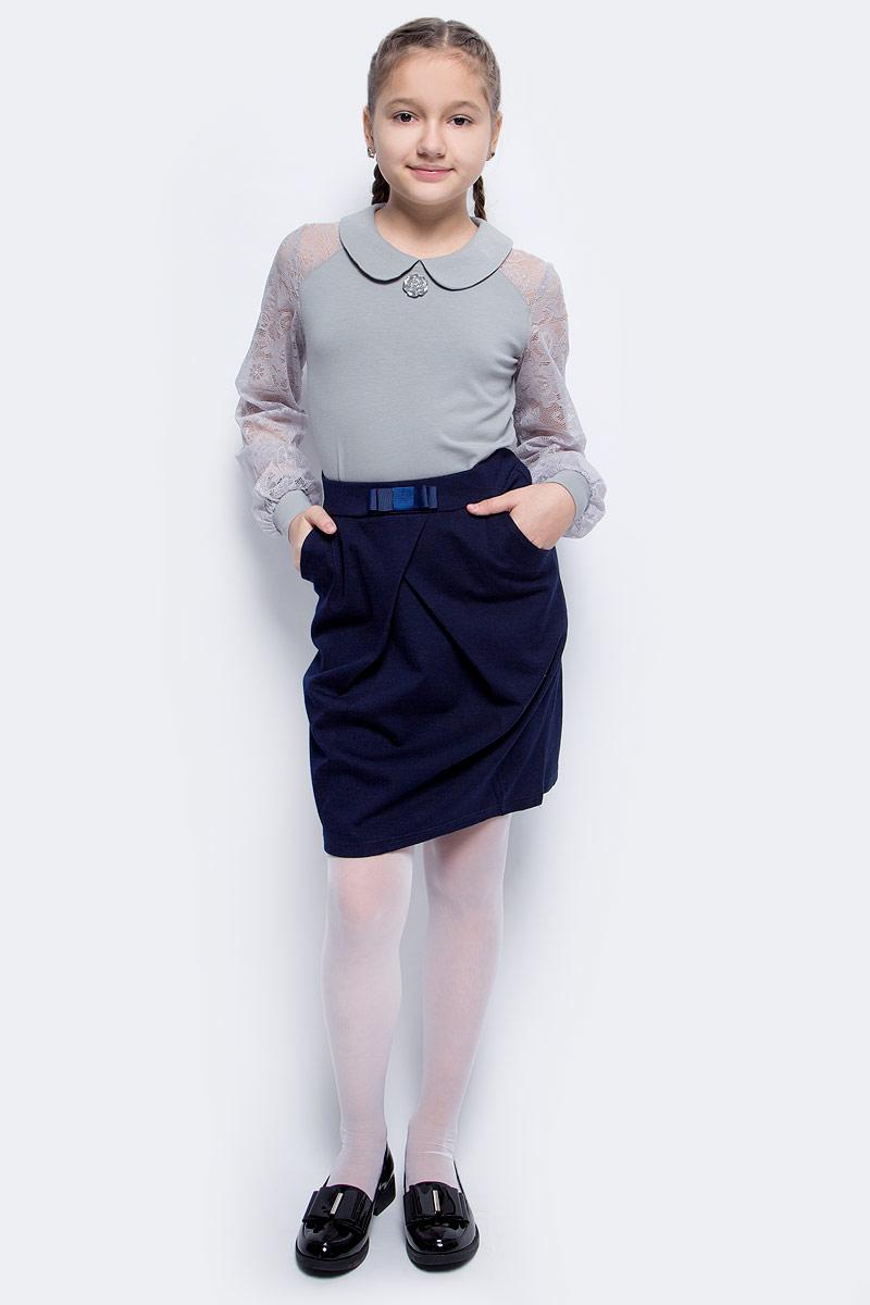 Блузка для девочки Nota Bene, цвет: серый. CJR270483A20. Размер 122 блузка для девочки free age цвет белый серый меланж zg 28087 mw2 размер 122 6 лет
