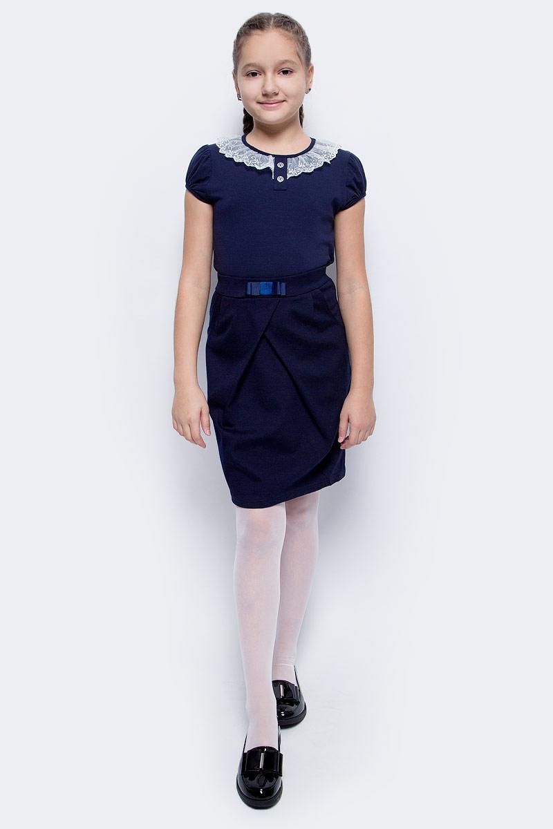 Блузка для девочки Nota Bene, цвет: темно-синий. CJR27032B29. Размер 146CJR27032A29/CJR27032B29Блузка для девочки Nota Bene выполнена из хлопкового трикотажа с кружевной отделкой. Модель с короткими рукавами и круглым вырезом горловины.