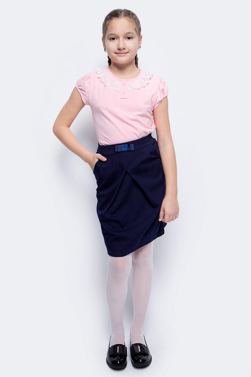 Блузка для девочки Nota Bene, цвет: розовый. CJR27032A05. Размер 128CJR27032A05Блузка для девочки Nota Bene выполнена из хлопкового трикотажа с кружевной отделкой. Модель с короткими рукавами и круглым вырезом горловины.