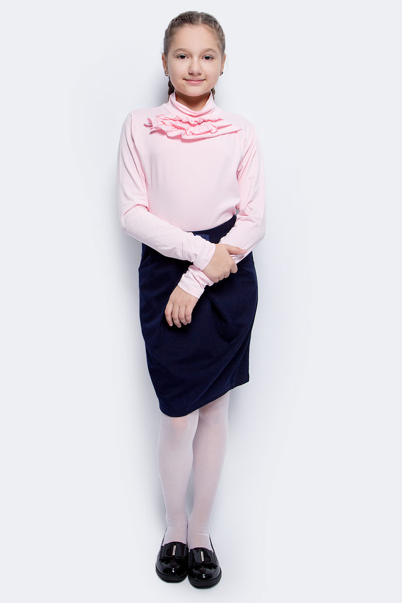 Водолазка для девочки Luminoso, цвет: розовый. 728100. Размер 140728100Водолазка для девочки Luminoso выполнена из хлопка с добавлением эластана. Модель имеет длинные рукава и воротник-стойку. На груди дополнена рюшами.