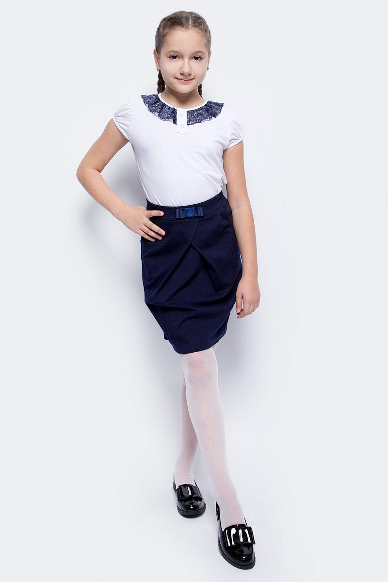 Блузка для девочки Nota Bene, цвет: белый. CJR27032B01. Размер 146CJR27032A01/CJR27032B01Блузка для девочки Nota Bene выполнена из хлопкового трикотажа с кружевной отделкой. Модель с короткими рукавами и круглым вырезом горловины.