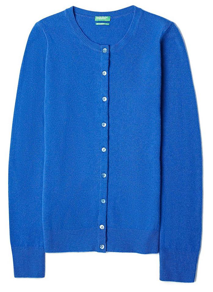 Кардиган женский United Colors of Benetton, цвет: синий. 1002D5319_366. Размер S (42/44)1002D5319_366Кардиган женский United Colors of Benetton выполнен из качественного материала. Модель с круглым вырезом горловины и длинными рукавами.