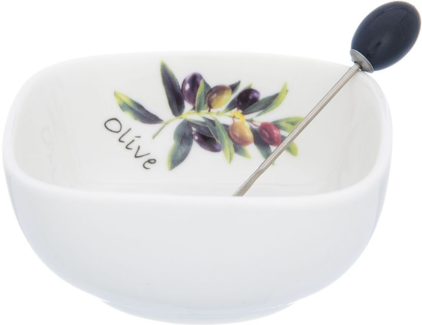 Тарелка под оливки Elan Gallery, со шпажкой, 10 х 10 х 4,5 см101309Сервировочная тарелка позволит украсить ваш праздничный стол, особенно на даче.Яркие и веселые расцветки порадуют Вас на кухне. Изделие имеет подарочную упаковку, поэтому станет желанным подарком для ваших близких!