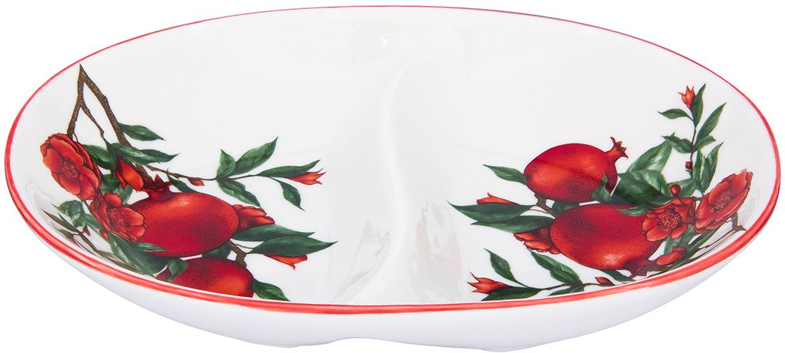 Менажница Elan Gallery Гранаты, 2 секции, 22,5 х 15,5 х 4 см101317Менажница с 2 секциями - это великолепная идея для эстетичной и удобной сервировки вашего стола: яркая, нарядная, неординарная!