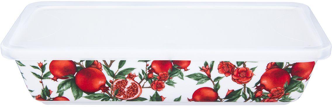 Блюдо для холодца Elan Gallery Гранаты, с крышкой, 28 х 13 х 6,5 см101330Сервировочное блюдо прекрасно подойдет для приготовления заливного или холодца. Украсит любой стол и любую кухню, а пластиковая крышка сохранит свежесть вашего блюда, предохранит от заветривания. Можно использовать для приготовления и хранения слоеных салатов. Изделие имеет подарочную упаковку, поэтому станет желанным подарком для ваших близких!