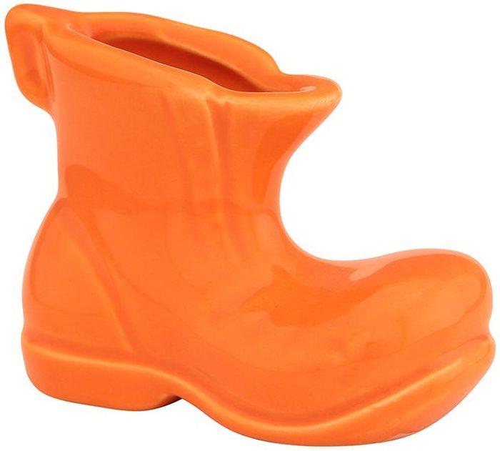 Вазочка под зубочистки Elan Gallery Башмачок, цвет: оранжевый, 7 х 3,5 х 5,5 см неактивный вазочка под зубочистки веселый щенок стразы сердце 6 см в п у с бантиком