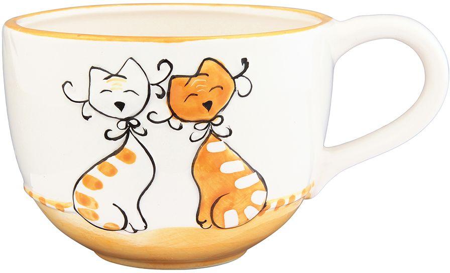 Кружка Elan Gallery Влюбленные коты на оранжевом, 550 мл110827Трогательная кружка объемом 550 мл в нежных тонах в подарочной упаковке с ленточкой! Идеальный подарок для взрослых и детей.