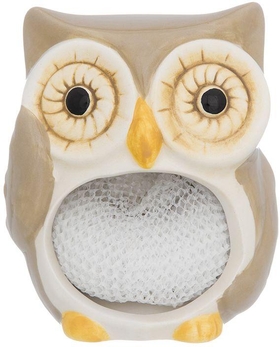 Подставка для губки Elan Gallery Сова, с губкой, цвет: бежевый, 9 х 7,6 х 10,5 см110905Подставка для губки Elan Gallery - это интересное и оригинальное украшение вашей кухни. Она выполнена из керамики. С такой подставкой губка для мытья посуды всегда будет у вас под рукой.Губка в комплекте.