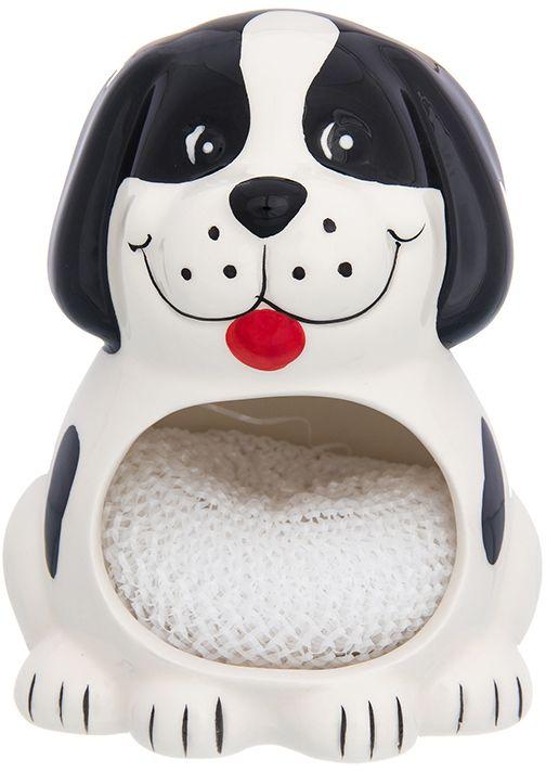 Подставка для губки Elan Gallery Собака белая с черным, с губкой, 10 х 9 х 12,7 см органайзеры на мойку elan gallery подставка для губки маки