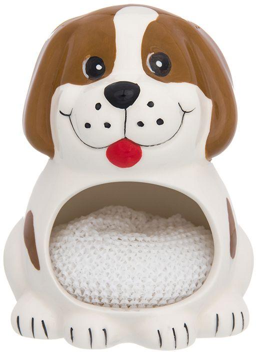 Подставка для губки Elan Gallery Собака белая с коричневым, с губкой, 10 х 9 х 12,7 см110933Подставка для губки - интересное и оригинальное украшение вашей кухни. С такой подставкой губка для мытья посуды всегда будет у вас под рукой. Изделие имеет подарочную упаковку.